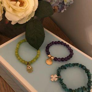 Jewelry - Three Charm/Beaded Bracelets